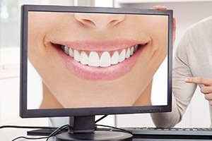 Smile photo on computer